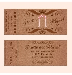 Grunge ticket for wedding invitation with arc vector