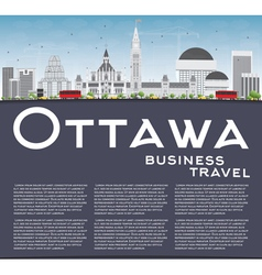 Ottawa skyline with gray buildings and copy space vector