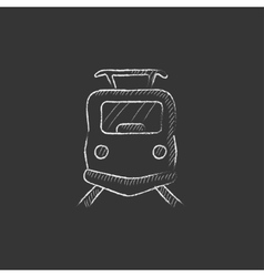 Front view of train drawn in chalk icon vector