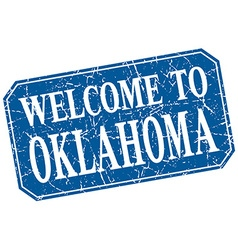 Welcome to oklahoma blue square grunge stamp vector