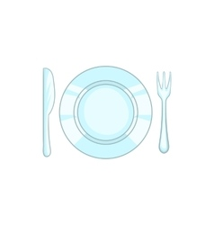 Plate with knife and fork icon cartoon style vector