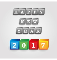 Happy new year 2017 message from gray and color vector