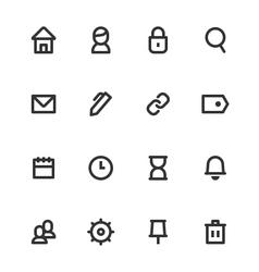 Basic ui outline icon set vector