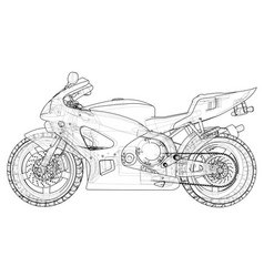 blueprint sport bike eps10 format created vector image