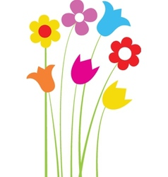Bright greetings card with flowers and buttons vector image vector image