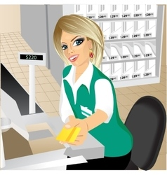 cashier giving a credit card in the supermarket vector image vector image