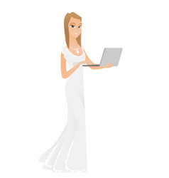 Caucasian bride in a white dress using laptop vector