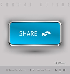 Chrome button with color plastic inside vector image