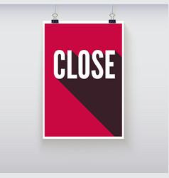 Close shopping door signs board vector image