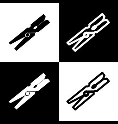 Clothes peg sign black and white icons vector