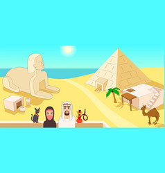 Egypt horizontal banner cartoon style vector