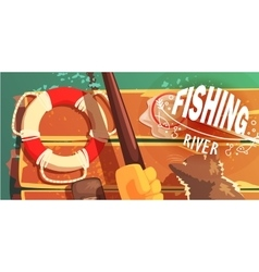 Fishing on the river with cat view from above vector