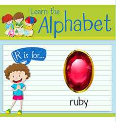 Flashcard letter r is for ruby vector