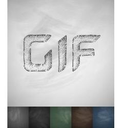 Gif icon hand drawn vector