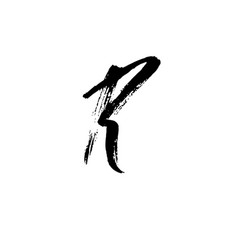 Letter r handwritten by dry brush rough strokes vector