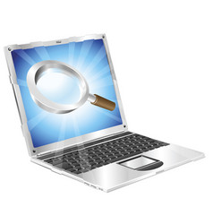 Magnifying glass search icon laptop concept vector