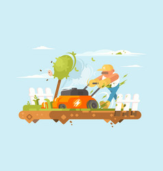 Man mowing grass vector