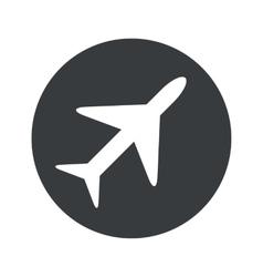 Monochrome round plane icon vector image vector image