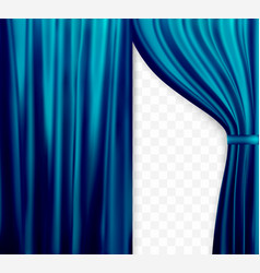 Naturalistic image of curtain open curtains blue vector