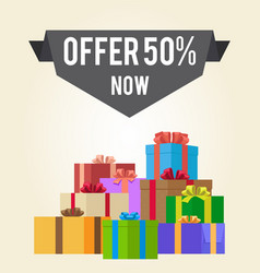 Offers 50 new sale promo label on advert banner vector