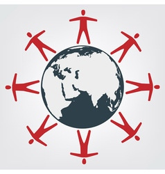 People around globe vector image