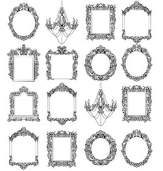 rich imperial baroque rococo frames set french vector image vector image