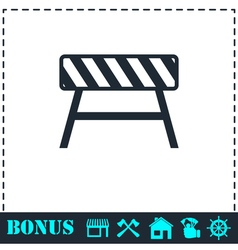 Road barrier icon flat vector