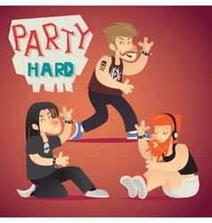 Rock funs party hard alternative music geek vector
