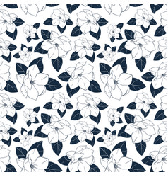 Seamless floral pattern with magnolia vector
