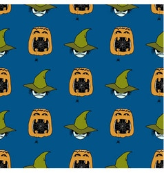 Seamless pattern from ghosts in hat and pumpkins vector