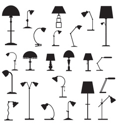 Set of icons of table lamps vector