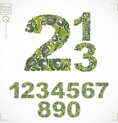 Set of ornate numbers flower-patterned numeration vector