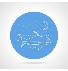 Shark in sea round icon vector image vector image