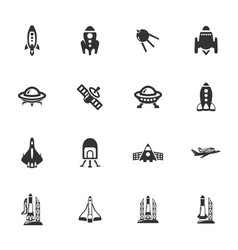 Space platform icons set vector