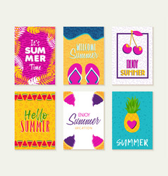 Summer greeting card design set of vacation season vector