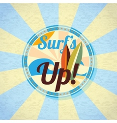 Summer surfing retro background vector image vector image