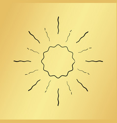 Sun burst vintage hand drawn hipster gold logo vector