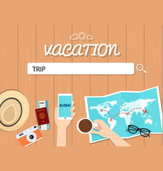 Trip search graphic for vacation vector