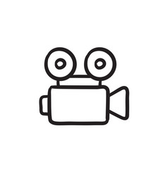 Video camera sketch icon vector
