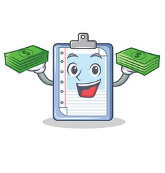 with money clipboard character cartoon style vector image