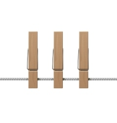 Wooden clothespins pegs on rope side view isolated vector
