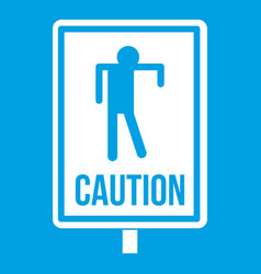 Zombie road sign icon white vector
