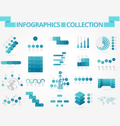 Infographics collection blue chart vector