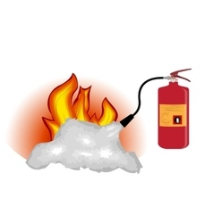 Fire extinguisher which extinguishes fire isolated vector