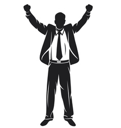 Businessman with arms up celebrating vector