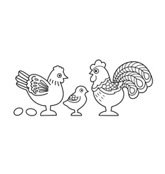 Contour image of stylized cock family vector