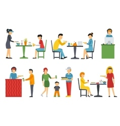 People in a flat interior pizza icons set vector