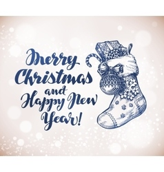 Merry christmas and happy new year sketch vector