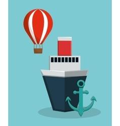 Cruise ship with anchor and hot air balloon icon vector