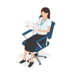 Woman sitting in chair and looking on two paper vector
